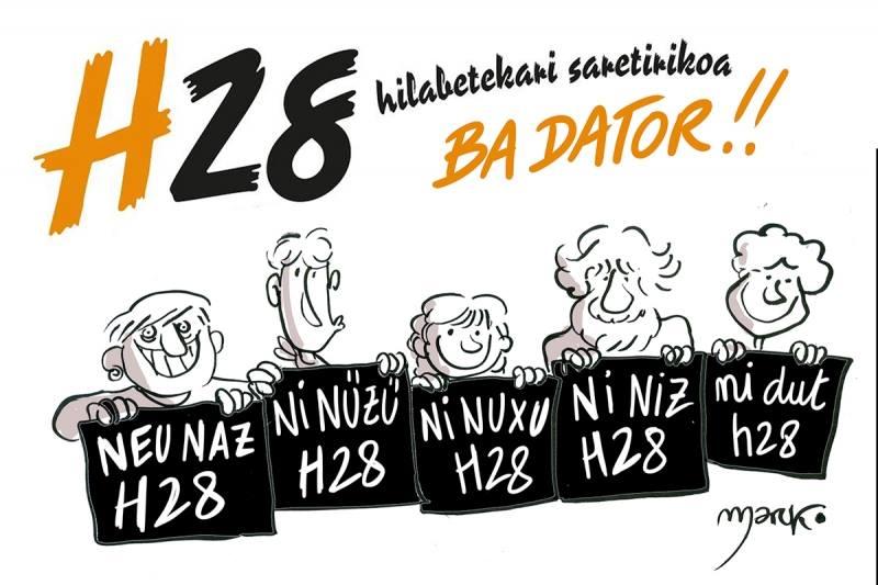 """Sur ce dessin on peut lire en titre """"H28 arrive"""". Sur les pancartes """"Je suis H28"""" dans différentes nuances de la langue basque. (Dessin de Marko)"""