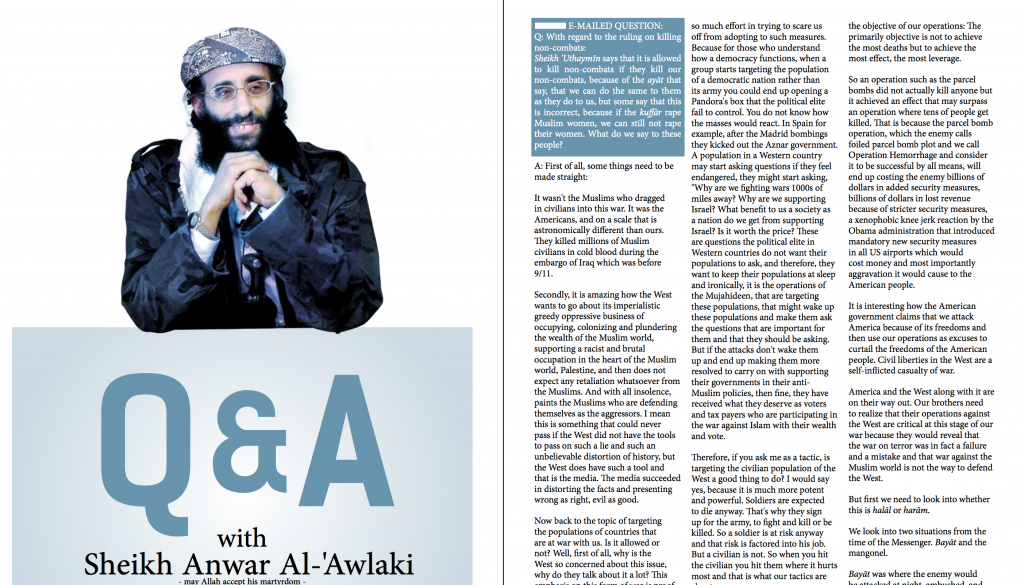 Anwar al Awlaqi dans Inspire