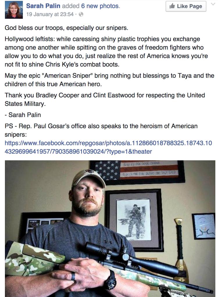 Post FB de Sarah Palin à propos du film American sniper