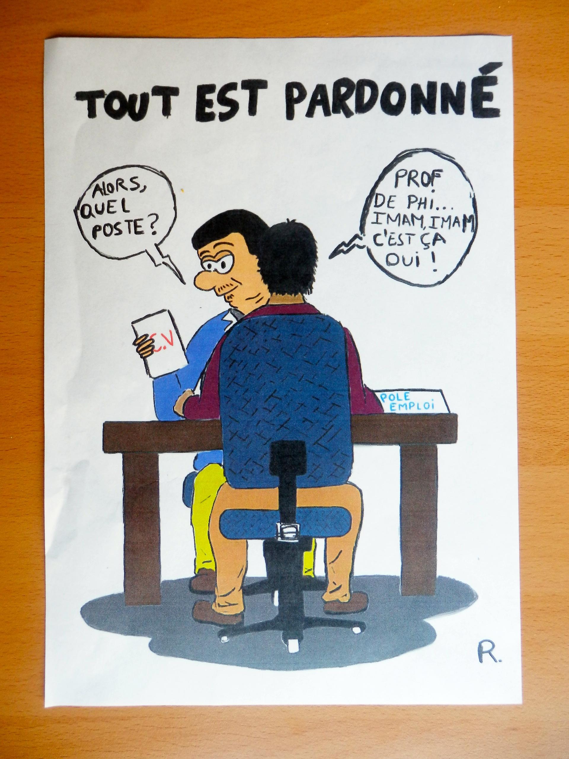 Un élève du lycée Averroès a produit un dessin satyrique à l'encontre de l'ancien professeur de philosophie, M. Zitouni