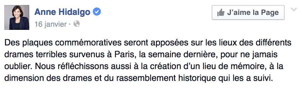 Publication Facebook sur le compte de la Maire de Paris Anne Hidalgo.