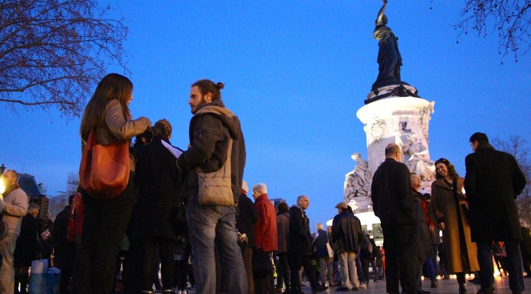 """Le """"Mouvement du 11-Janvier"""" réuni sur la place de la République à Paris"""