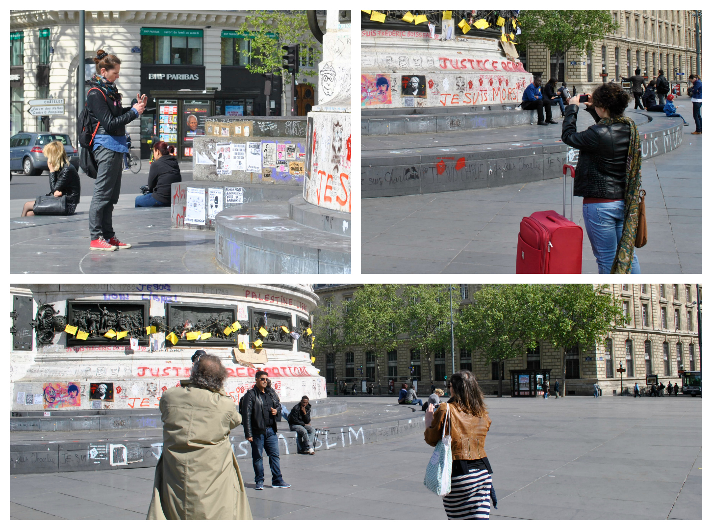 Les touristes sont nombreux à prendre des photos du Monument à la République