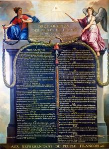 La Déclaration des Droits de l'Homme et du Citoyen, illustré par Le Barbier en 1789.