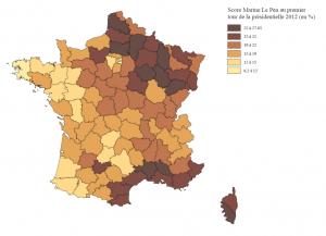 Score de la présidente du Front National Marine le Pen au premier tour de l'élection présidentielle de 2012